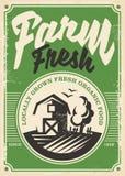 Diseño retro del cartel de los productos frescos de la granja ilustración del vector