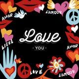 Diseño retro del día de San Valentín con el texto del amor stock de ilustración