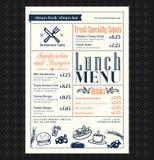 Diseño retro del menú del almuerzo del restaurante del capítulo Foto de archivo