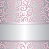 Diseño retro del papel pintado del vector del vintage rosado y de plata de la invitación