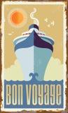 Diseño retro del vector del barco de cruceros del vintage stock de ilustración
