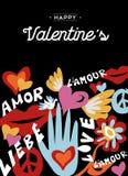Diseño retro feliz del día de tarjetas del día de San Valentín con la decoración libre illustration