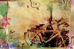 Diseño retro hermoso con las bicis viejas Imagenes de archivo