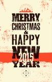 Diseño retro tipográfico de la Navidad Tarjeta del vintage del vector de la Navidad Imagen de archivo