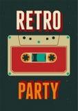 Diseño retro tipográfico del cartel del partido con un casete audio Ejemplo del vector del vintage Fotos de archivo