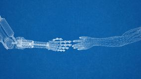 Diseño robótico y humano de las manos - arquitecto Blueprint imágenes de archivo libres de regalías