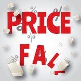 Diseño rojo blanco de la venta de la caída de precios Imágenes de archivo libres de regalías