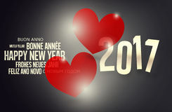 diseño rojo de 2017 corazones del Año Nuevo Imágenes de archivo libres de regalías
