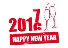Diseño rojo de la Feliz Año Nuevo 2017 Imagen de archivo libre de regalías