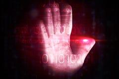 Diseño rojo de la impresión de la mano de la tecnología Imágenes de archivo libres de regalías
