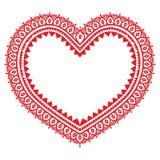 Diseño rojo de Mehndi del corazón, modelo indio del tatuaje de la alheña Imagen de archivo