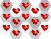 Diseño rojo del polígono del corazón de la tarjeta del día de San Valentín Fotos de archivo libres de regalías