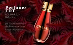 Diseño rojo dulce Art Abstract de la hoja de la plantilla de la botella de perfume Cosméticos excelentes que hacen publicidad Dis Foto de archivo libre de regalías