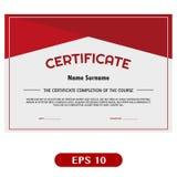 Diseño rojo hermoso de la plantilla del certificado Stock de ilustración