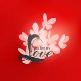 Diseño romántico con las letras y las mariposas de amor Imagenes de archivo