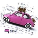 Diseño rosado retro del coche Foto de archivo