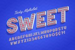 Diseño sabroso cómico de la fuente de la exhibición 3d, alfabeto, letras stock de ilustración