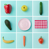 Diseño sano del cartel del concepto de la consumición con las frutas y verduras Imagen de archivo