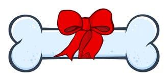 Diseño simple del dibujo de perro de la historieta azul del hueso con la cinta y el arco ilustración del vector