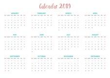 Diseño simple mínimo del calendario para el enero a diciembre imagen de archivo