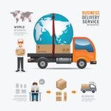Diseño social de la plantilla del servicio de entrega del negocio de Infographic Foto de archivo libre de regalías