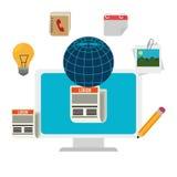 Diseño social de los medios del blog y del blogger Imagen de archivo libre de regalías