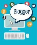 Diseño social de los medios del blog y del blogger Fotografía de archivo
