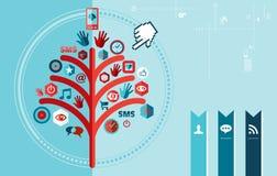 Diseño social del árbol de la red de Techno Imagen de archivo