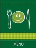 Diseño sonriente del menú del restaurante Imagenes de archivo