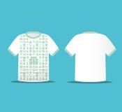 Diseño suave moderno de la camiseta del color con hacer compras de los iconos Ilustración del Vector