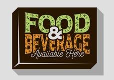 Diseño tipográfico de la muestra de la comida y de la bebida para las barras de los restaurantes de los Pubs para la promoción stock de ilustración