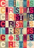 Diseño tipográfico de la tarjeta de Navidad o del cartel del estilo del vintage Ejemplo retro del vector del grunge Fotografía de archivo libre de regalías