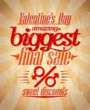 Diseño tipográfico de la venta más grande del ` s de la tarjeta del día de San Valentín. Imagen de archivo libre de regalías