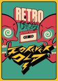 Diseño tipográfico del cartel del partido del ` ` retro para siempre del viejo con un casete audio y cráneos locos Ejemplo del ve stock de ilustración