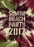 Diseño tipográfico del cartel del vintage del grunge del partido de la playa del verano Ilustración retra del vector Imagen de archivo libre de regalías