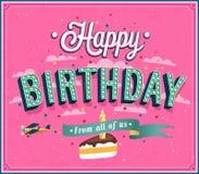 Diseño tipográfico del feliz cumpleaños. Fotos de archivo