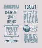 Diseño tipográfico del menú del restaurante Ilustración del vector Foto de archivo libre de regalías