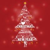 Diseño tipográfico en el pino para el evento de la Navidad y del Año Nuevo Imagenes de archivo
