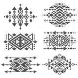 Diseño tradicional tribal azteca mexicano del logotipo del vector del Grunge aislado en el fondo blanco Foto de archivo libre de regalías