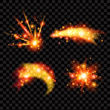 Diseño transparente de las estrellas que brilla La luz chispeante de Sun destella efecto Imágenes de archivo libres de regalías