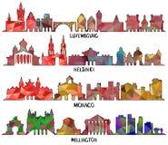 Diseño triangular Luxemburgo, Helsinki, Mónaco y Wellington stock de ilustración