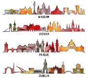 Diseño triangular Varsovia, Viena, Praga, Dublín ilustración del vector