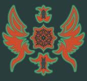 Diseño tribal lujoso abstracto - diseño gráfico de la camiseta con las puntadas y los remaches ilustración del vector