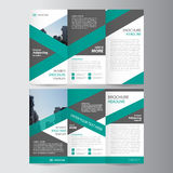 Diseño triple verde de la plantilla del aviador del folleto del prospecto del informe anual, plantillas abstractas de la disposic stock de ilustración