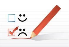 Diseño triste del ejemplo de la marca de verificación de la cara Imagenes de archivo