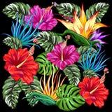 Diseño tropical de la materia textil de Flora Summer Mood Pattern Vector stock de ilustración
