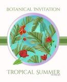 Diseño tropical de la plantilla de la tarjeta con la palma y las flores para saludar, invitación libre illustration