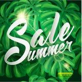 Diseño tropical de la venta del verano con las hojas de palma stock de ilustración