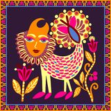 Diseño ucraniano original de la alfombra con el animal y las flores, modelo tribal étnico brillante de la fantasía libre illustration