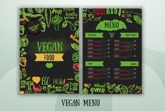 Diseño vegetariano moderno del menú de la comida Imagenes de archivo